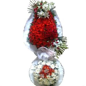 Kırmızı Karanfil ve Cerbera Beyaz Ayaklı Sepet