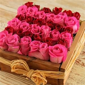Kare Kutu İçerisinde Pembe ve Kırmızı güller