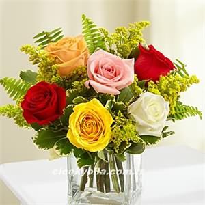 Cam İçerisinde Karışık Güller