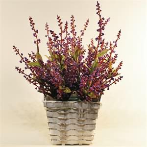 Seramik Saksı İçerisinde Yapay Lila Mine Çiçeği