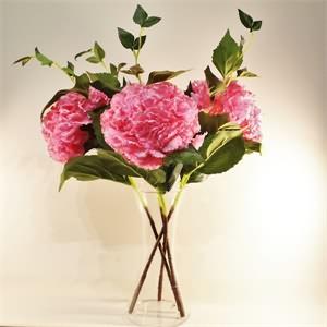 Cam Vazo Pembe Ortanca Yapay Çiçek Aranjmanı