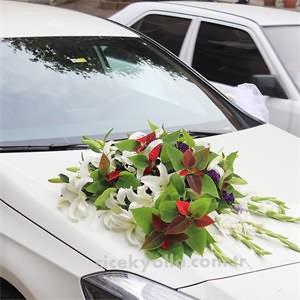 Kırmızı Beyaz Gelin Arabası Süsleme