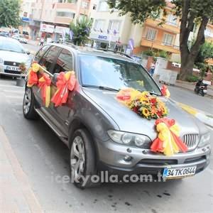 Sarı Kırmızı Gelin Arabası Süslemesi