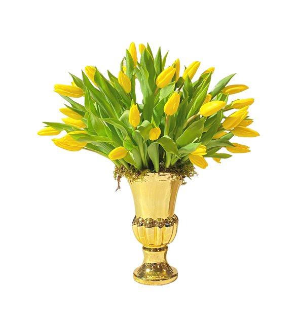 Gold Vazoda Sarı Lale