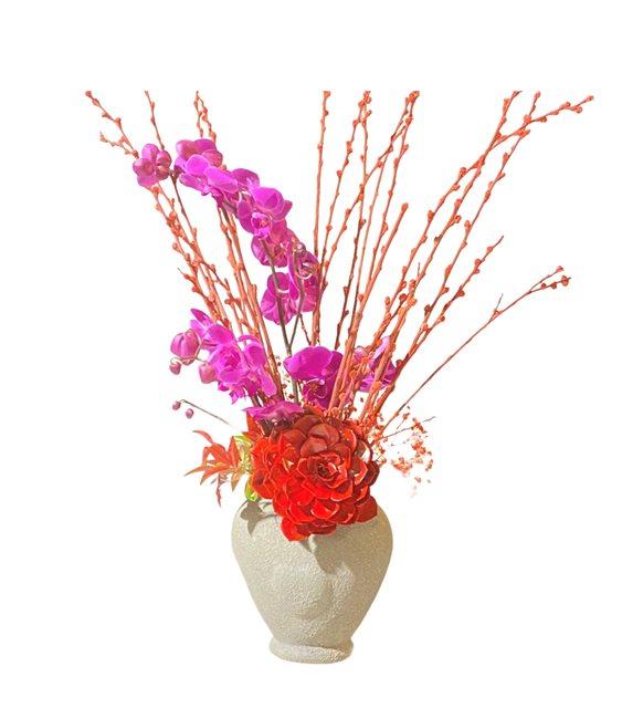 Kalb Vazoda Renkli Orkide Sukulent Serisi