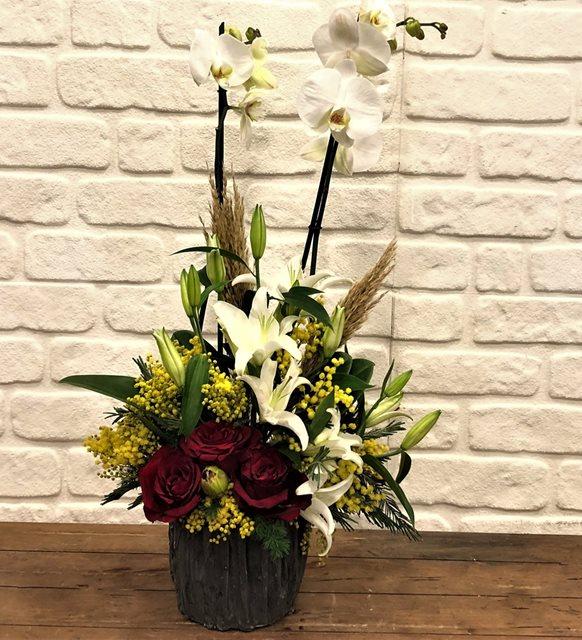 Liestal Beyaz Orkide Kırmızı Gül Serisi