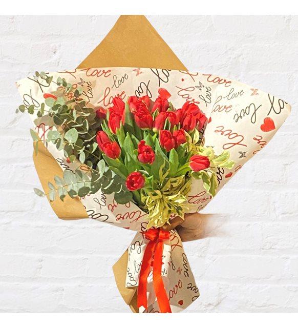 Aloe Kırmızı Lale Buketi