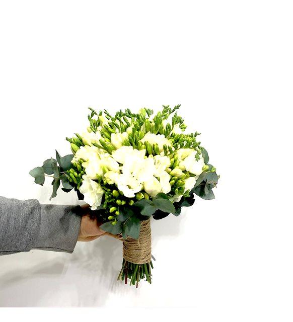 Beyaz Frezyalı Gelin Buketi Serisi