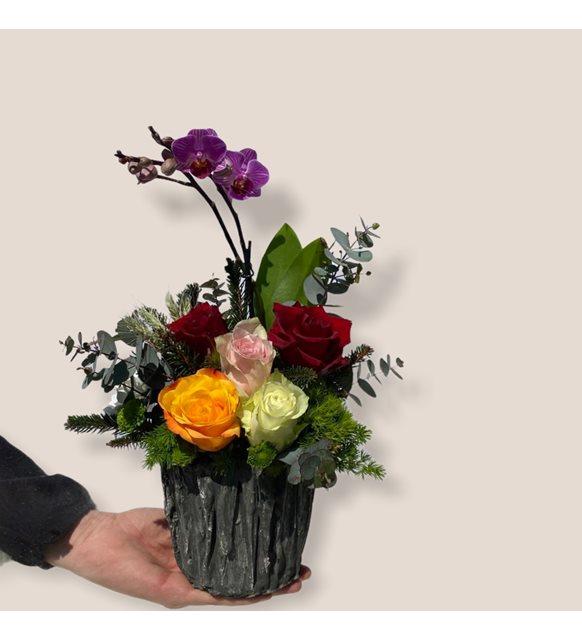 Mix Mini Orkideli Gül Serisi